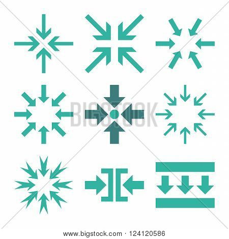 Minimize Arrows vector icon set. Collection style is bicolor cobalt and cyan flat symbols on a white background. Minimize Arrows icons.