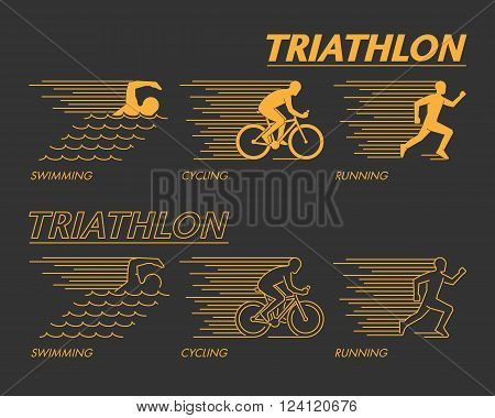 Modern line triathlon symbol. Gold vector figures triathletes. Outline triathlon icons. Vector line silhouette triathletes. Swimming cycling and running icons.