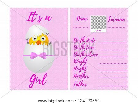 Baby girl announcement card. Template announcement card with photo frame. Baby girl arrival card with photo frame and place for your text. Vector illustration.