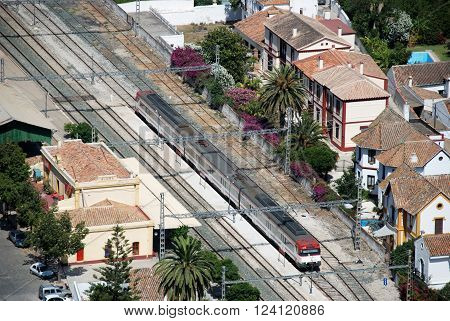 ALORA, SPAIN - JUNE 27, 2008 - Elevated view of the railway station Alora Malaga Province Andalusia Spain Western Europe, June 27, 2008.