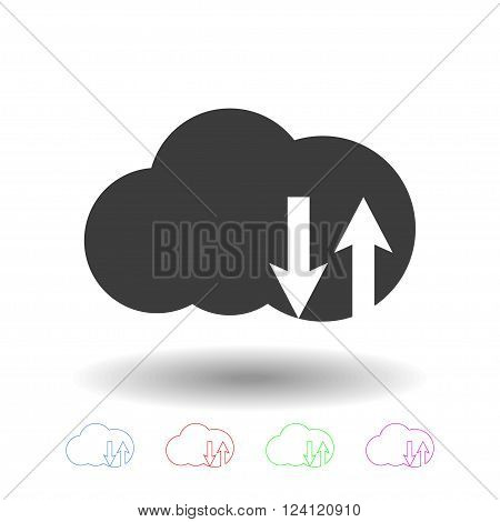 Cloud technology upload and download icon. Upload and download data to the cloud. Outline clouds technology icons. Vector set of clouds icon.