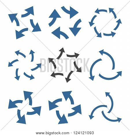 Centrifugal Arrows vector icon set. Collection style is bicolor cobalt and gray flat symbols on a white background. Centrifugal Arrows icons.