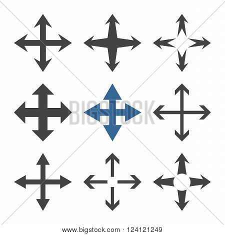 Expand Arrows vector icon set. Collection style is bicolor cobalt and gray flat symbols on a white background. Expand Arrows icons.
