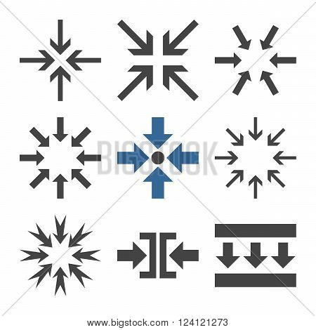 Minimize Arrows vector icon set. Collection style is bicolor cobalt and gray flat symbols on a white background. Minimize Arrows icons.