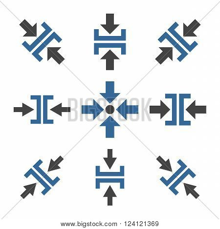 Pressure Directions vector icon set. Collection style is bicolor cobalt and gray flat symbols on a white background. Pressure Directions icons.