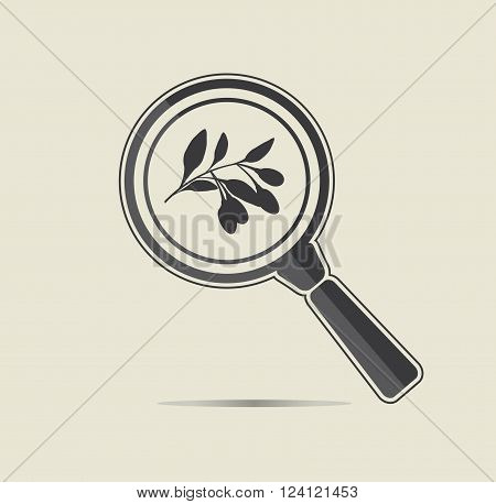 Goji berries under a magnifiyng glass. Botanical research conceptual icon.