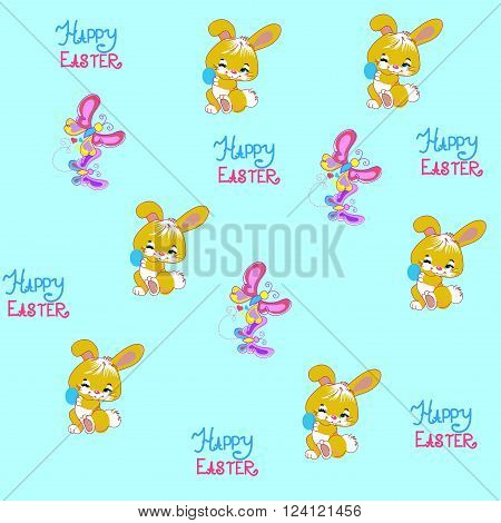 fluffy Bunny is holding an Easter egg and next to the basket of butterflies. Easter background. Easter eggs. Easter. Easter symbol.