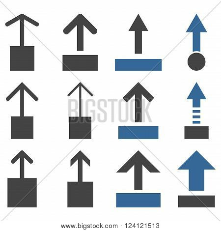 Pull Up vector icon set. Collection style is bicolor cobalt and gray flat symbols on a white background. Pull Up icons.