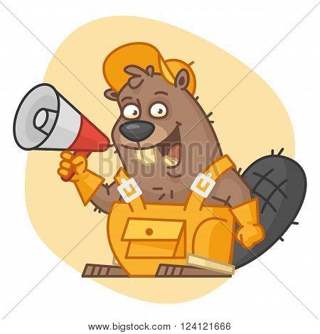 Vector Illustration, Beaver Holds Megaphone, format EPS 8