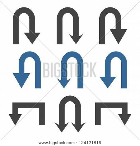 Turn Back Arrows vector icon set. Collection style is bicolor cobalt and gray flat symbols on a white background. Turn Back Arrows icons.