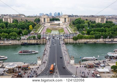 Paris, France May 26, 2015: View of the Trocadero, River Seine and Paris city from the Eiffel Tower