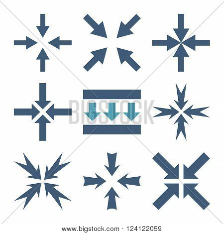 Pressure Arrows vector icon set. Collection style is bicolor cyan and blue flat symbols on a white background. Pressure Arrows icons.