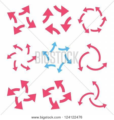 Centrifugal Arrows vector icon set. Collection style is bicolor pink and blue flat symbols on a white background. Centrifugal Arrows icons.