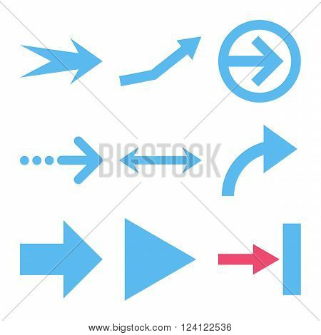 Direction Arrows vector icon set. Collection style is bicolor pink and blue flat symbols on a white background. Direction Arrows icons.