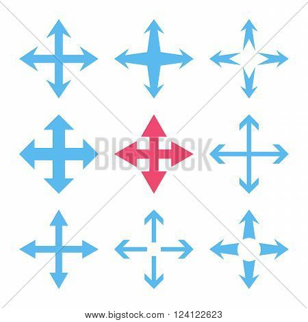Expand Arrows vector icon set. Collection style is bicolor pink and blue flat symbols on a white background. Expand Arrows icons.