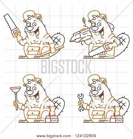 Vector Illustration, Beaver Master Doodle in Different Versions 1, format EPS 8