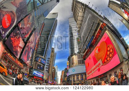 NEW YORK USA FEB 6: Beautiful colorful high dynamic range (HDR) image of the Times Square on a blue sky through fisheye lens NYC USA Feb 6 2016