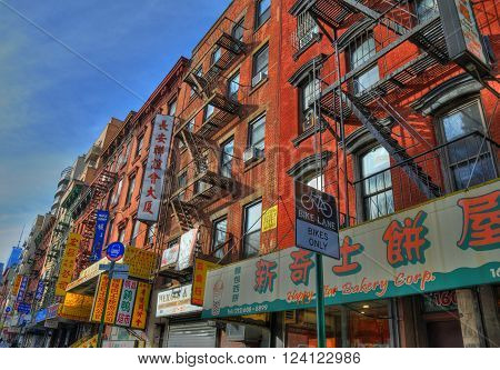 NEW YORK UNITED STATES - FEB 6 Typical buildings in Chinatown New York. Chinatown has an estimated population of 100000 people and is one of oldest Chinatowns outside Asia. NYC USA Feb 6 2016