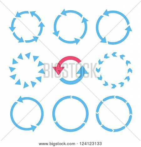 Rotation Direction vector icon set. Collection style is bicolor pink and blue flat symbols on a white background. Rotation Direction icons.