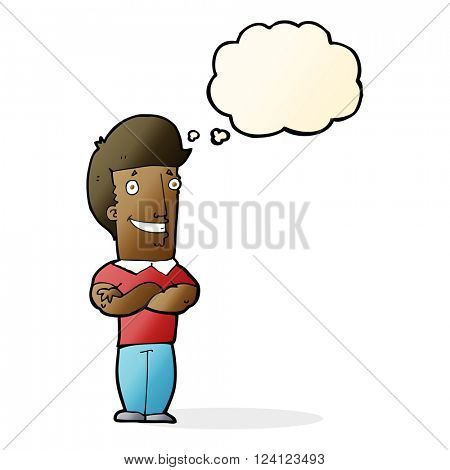 cartoon man with folded arms grinning with thought bubble