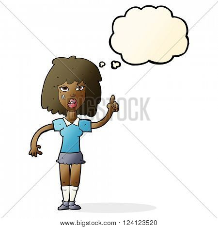 cartoon tough woman with idea with thought bubble