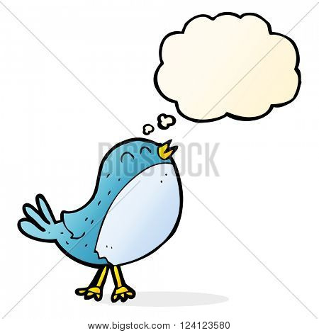 cartoon singing bird with thought bubble