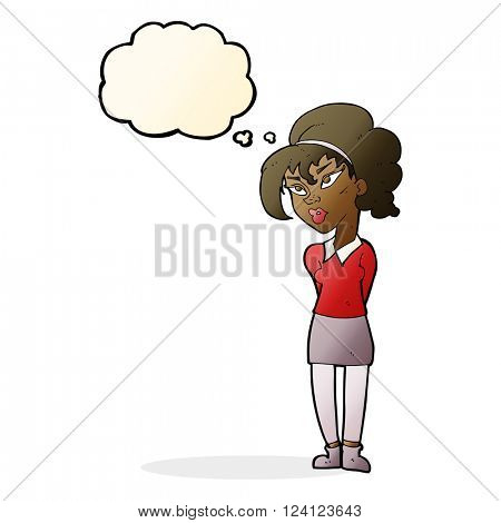 cartoon pretty girl tilting head with thought bubble