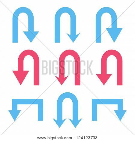 Turn Back Arrows vector icon set. Collection style is bicolor pink and blue flat symbols on a white background. Turn Back Arrows icons.