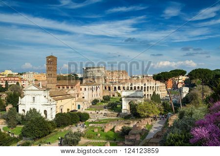 View of the Forum Romanum towards the coliseum, Rome, Italy