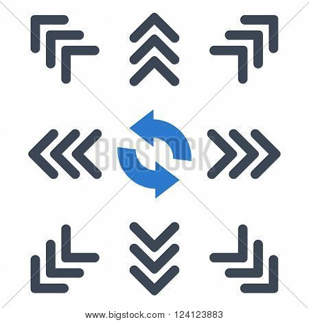 Directions vector icon set. Collection style is bicolor smooth blue flat symbols on a white background. Directions icons.