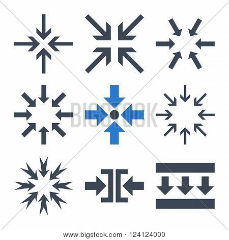 Minimize Arrows vector icon set. Collection style is bicolor smooth blue flat symbols on a white background. Minimize Arrows icons.