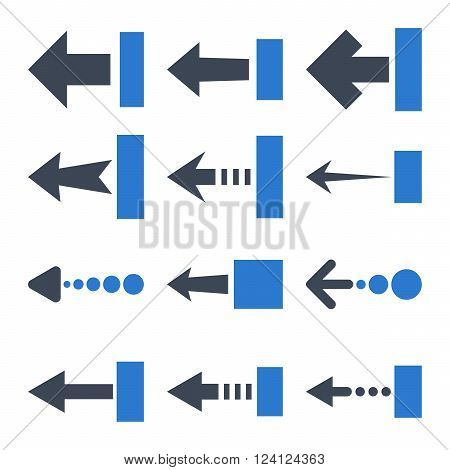 Pull Left vector icon set. Collection style is bicolor smooth blue flat symbols on a white background. Pull Left icons.