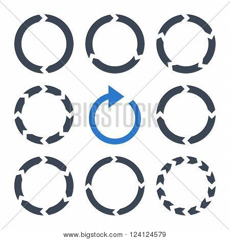 Rotation Direction vector icon set. Collection style is bicolor smooth blue flat symbols on a white background. Rotation Direction icons.