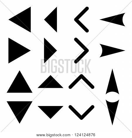 Arrowheads vector icon set. Collection style is black flat symbols on a white background. Arrowheads icons.