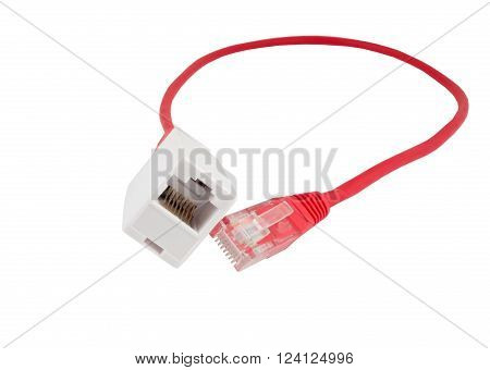 Network cable with RJ45 isolate on over white background