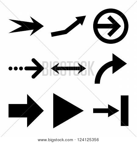 Direction Arrows vector icon set. Collection style is black flat symbols on a white background. Direction Arrows icons.