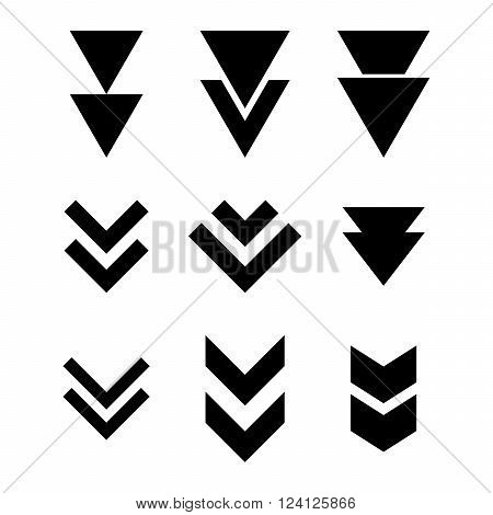 Down Direction vector icon set. Collection style is black flat symbols on a white background. Down Direction icons.