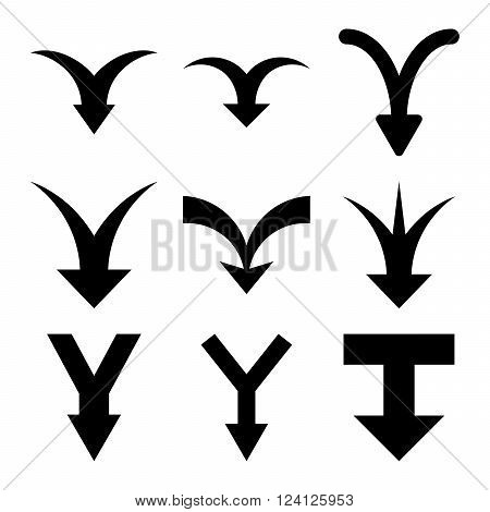 Join Arrows Down vector icon set. Collection style is black flat symbols on a white background. Join Arrows Down icons.