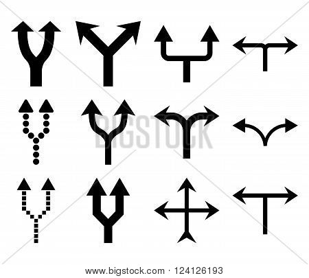 Junction Arrows Up vector icon set. Collection style is black flat symbols on a white background. Junction Arrows Up icons.
