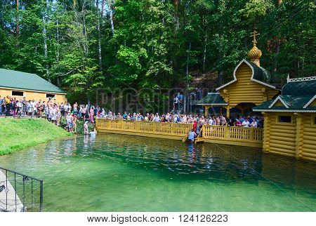 TSYGANOVKA RUSSIA - AUGUST 22 2015: Pilgrims are on the holy source in the name of St. Seraphim of Sarov near the village of Tsyganovka Russia