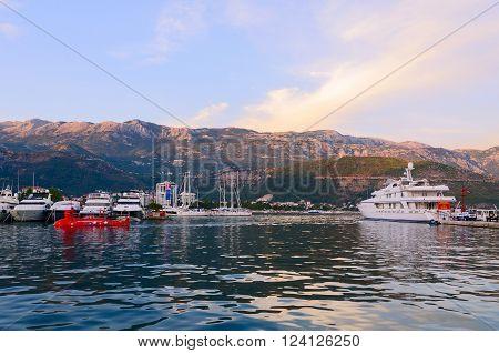 BUDVA MONTENEGRO - SEPTEMBER 15 2015: Pleasure yachts at the pier Dukley Marina on the waterfront of resort of Budva Montenegro