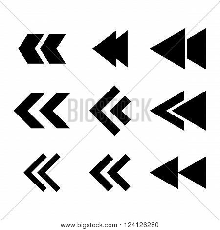 Left Direction vector icon set. Collection style is black flat symbols on a white background. Left Direction icons.