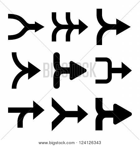 Merge Arrows Right vector icon set. Collection style is black flat symbols on a white background. Merge Arrows Right icons.