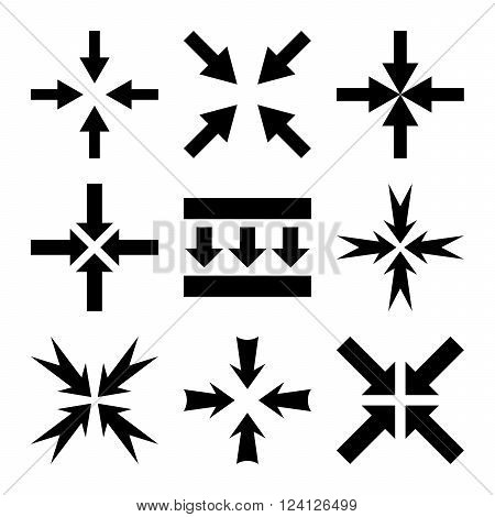 Pressure Arrows vector icon set. Collection style is black flat symbols on a white background. Pressure Arrows icons.