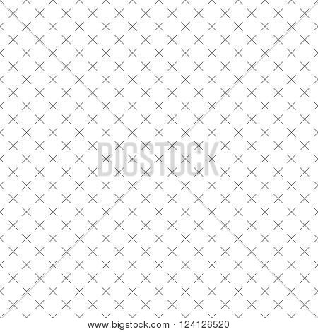 Seamless pattern. Abstract small textured surface. Minimal classic texture with repeating thin line crosses. Vector element of graphical design