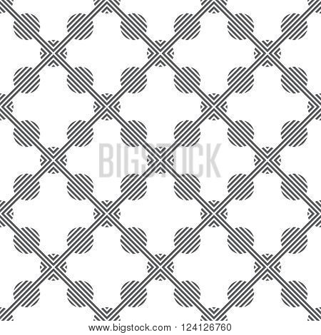 Tiled seamless pattern. Modern stylish texture. Regularly repeating geometric tiles with striped circles stripes rhombus. Vector element of graphical design