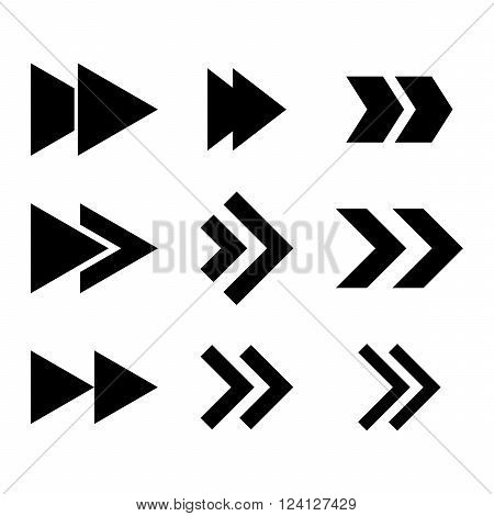 Right Direction vector icon set. Collection style is black flat symbols on a white background. Right Direction icons.