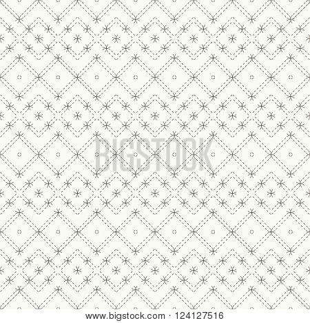 Vector seamless pattern. Modern stylish texture. Regularly repeating geometric grid with dashed thin lines rhombuses diamonds. Abstract seamless background. Graphical design element