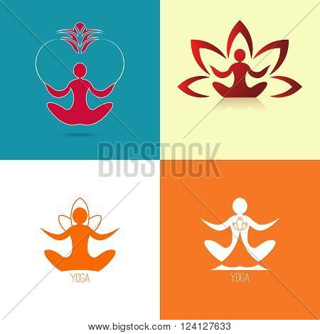 Yoga icon. Logo template on a light background. Vector logo for the spa center yoga center yoga studio. Template graphic design element. Set. Vector illustration for your design