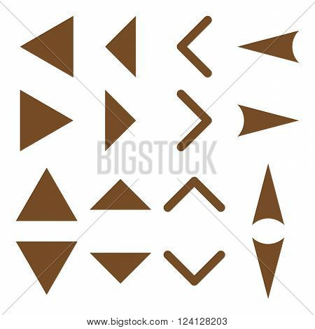 Arrowheads vector icon set. Collection style is brown flat symbols on a white background. Arrowheads icons.